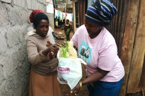 Esther (right) from LishaBora Hydroponics shows off the venture's lush feed to a Kenyan dairy farmer.